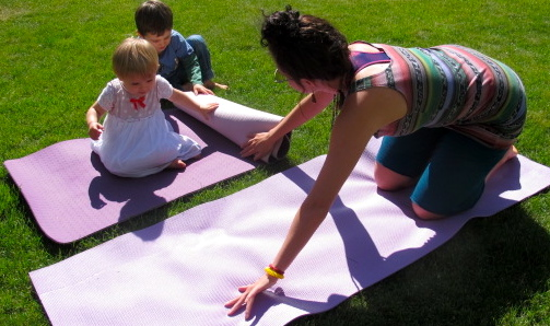 """Playing"" yoga with the kids."