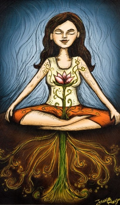 women flower meditation
